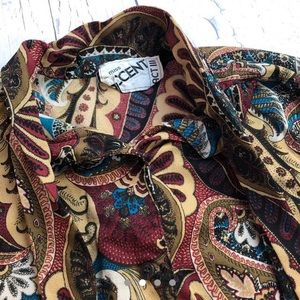 Vintage Tops - Vintage 70's silky Groovy shirt women's
